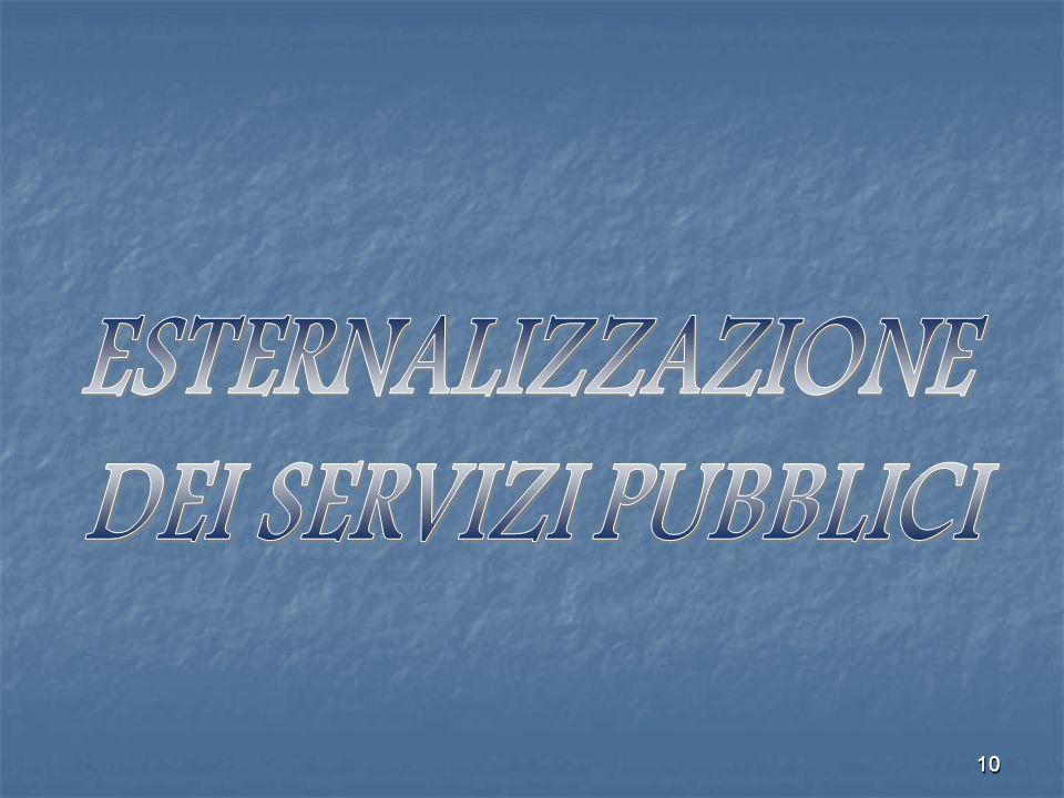 ESTERNALIZZAZIONE DEI SERVIZI PUBBLICI