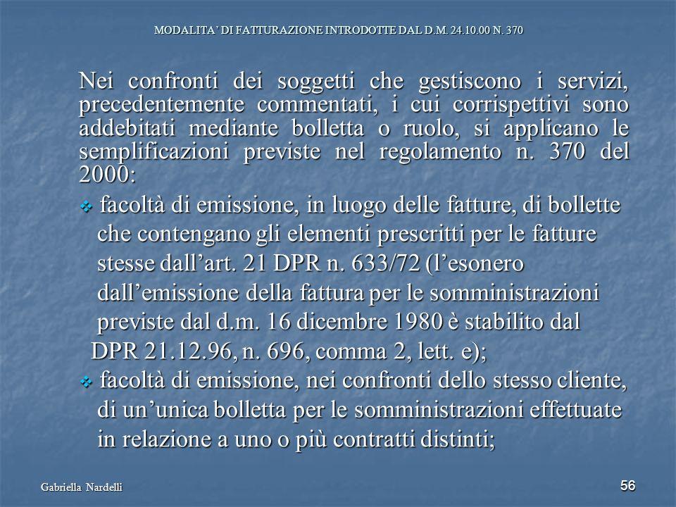 MODALITA' DI FATTURAZIONE INTRODOTTE DAL D.M. 24.10.00 N. 370