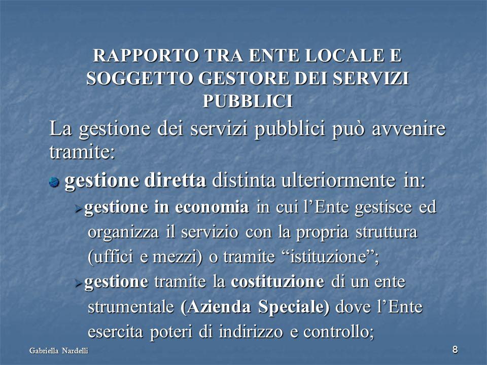 RAPPORTO TRA ENTE LOCALE E SOGGETTO GESTORE DEI SERVIZI PUBBLICI