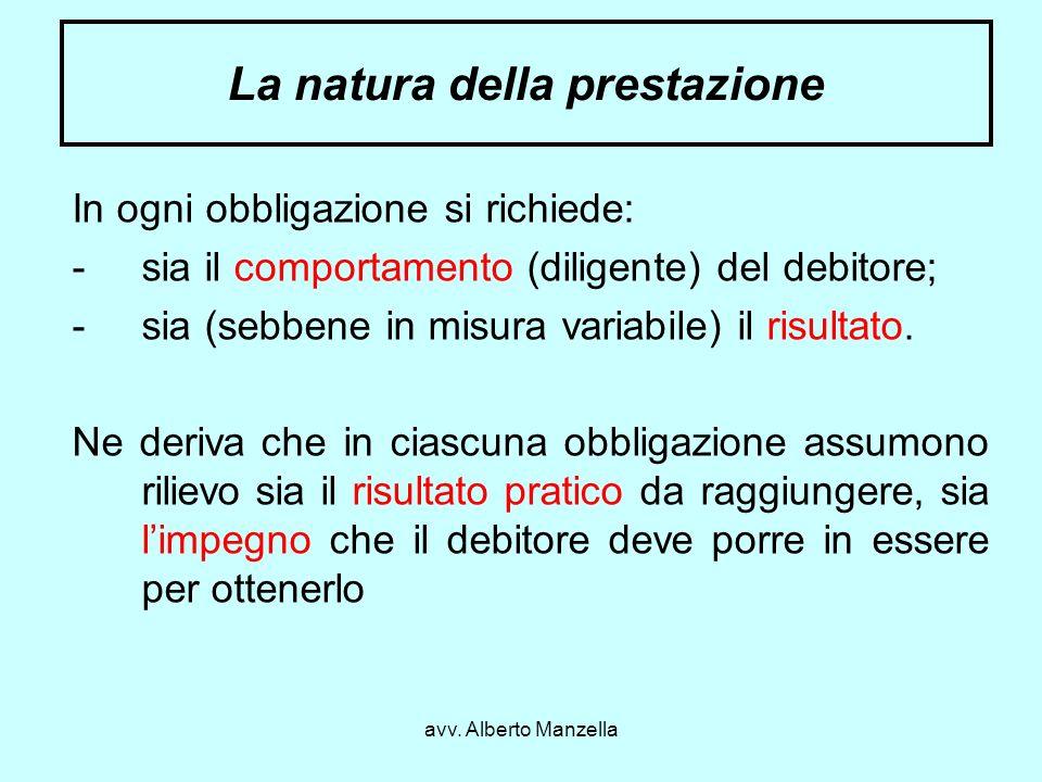 La natura della prestazione
