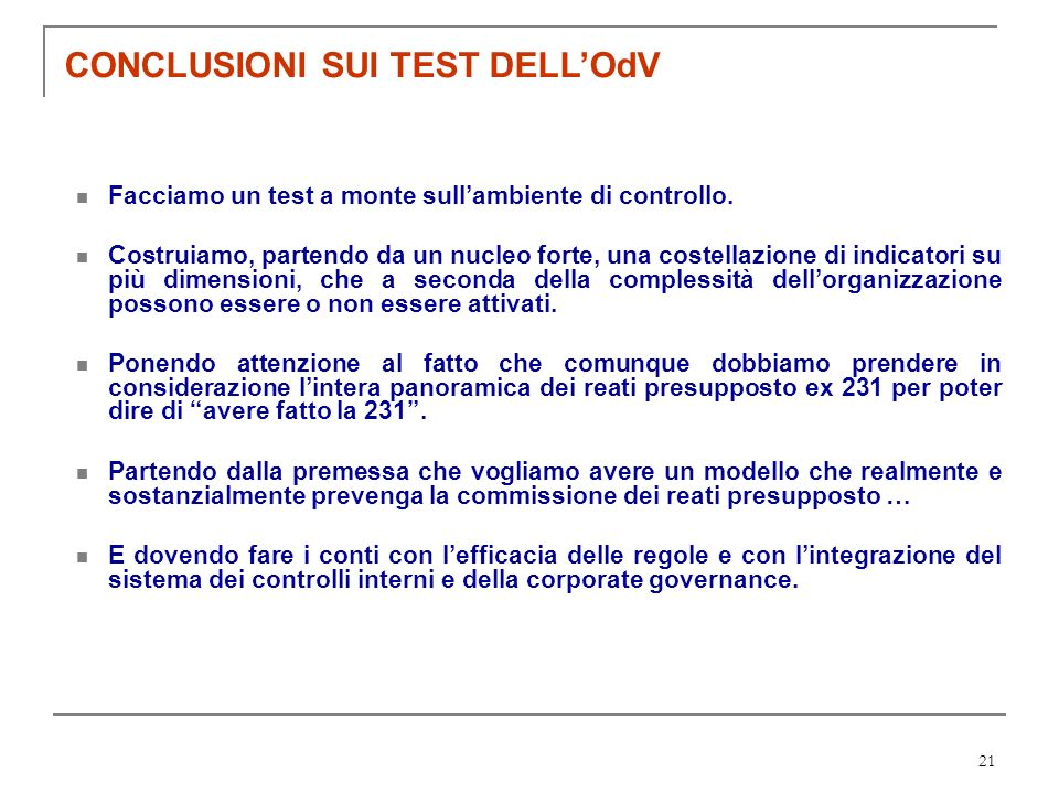 CONCLUSIONI SUI TEST DELL'OdV