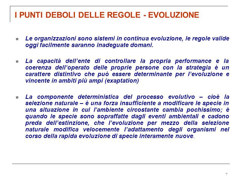 I PUNTI DEBOLI DELLE REGOLE - EVOLUZIONE