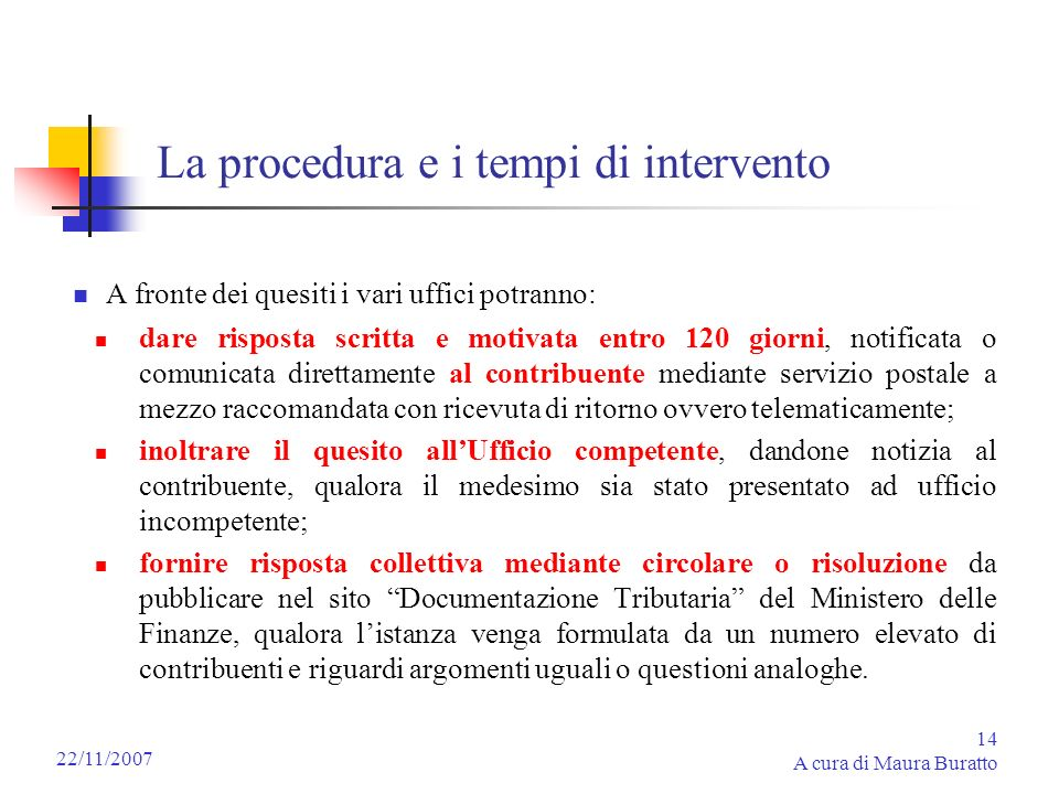 La procedura e i tempi di intervento
