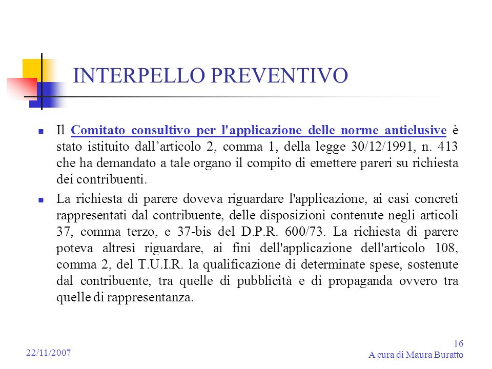 INTERPELLO PREVENTIVO