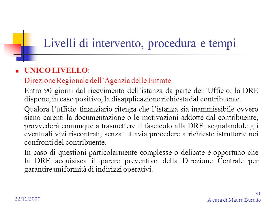 Livelli di intervento, procedura e tempi
