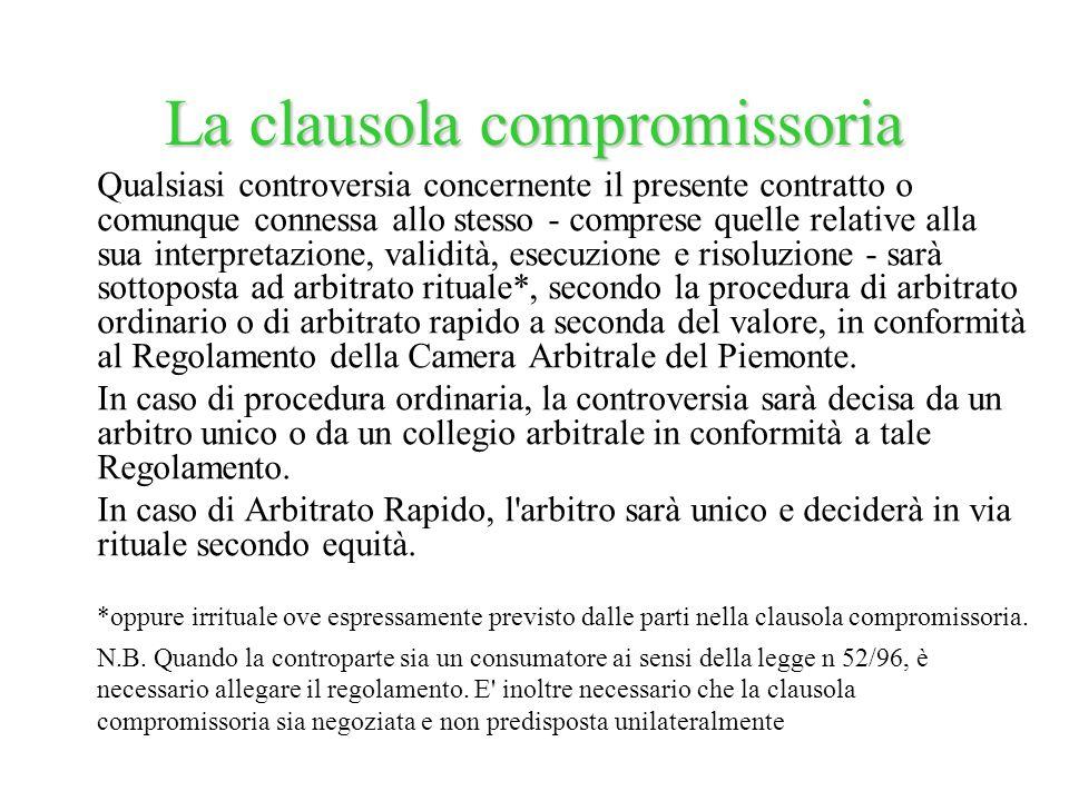 La clausola compromissoria