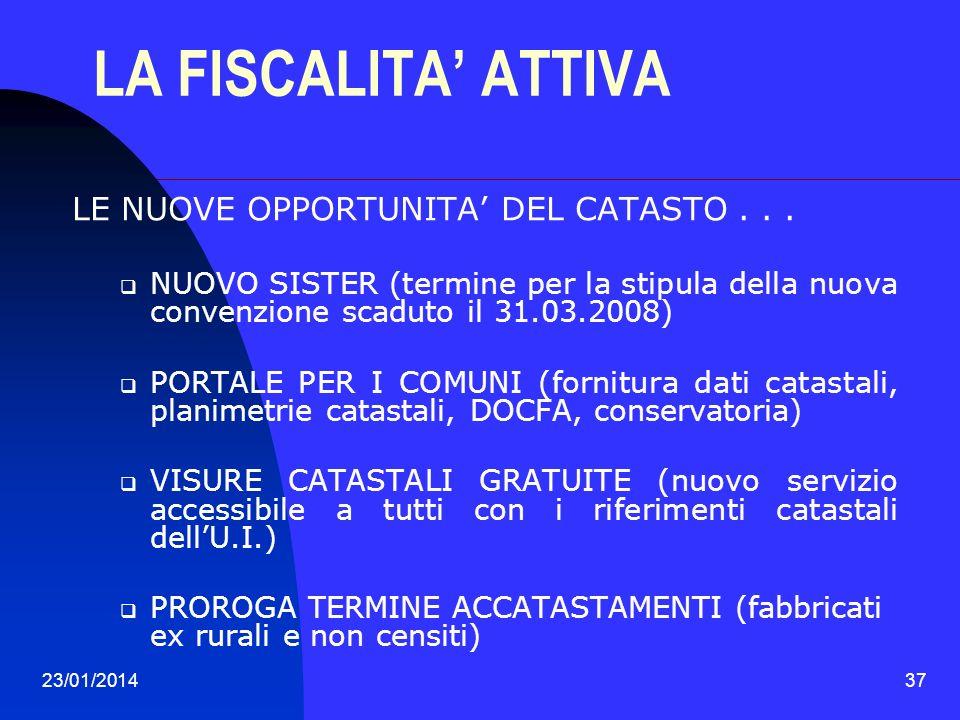 LA FISCALITA' ATTIVA LE NUOVE OPPORTUNITA' DEL CATASTO . . .