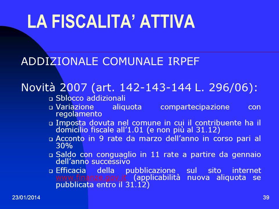 LA FISCALITA' ATTIVA ADDIZIONALE COMUNALE IRPEF