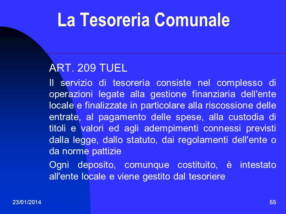 La Tesoreria Comunale ART. 209 TUEL