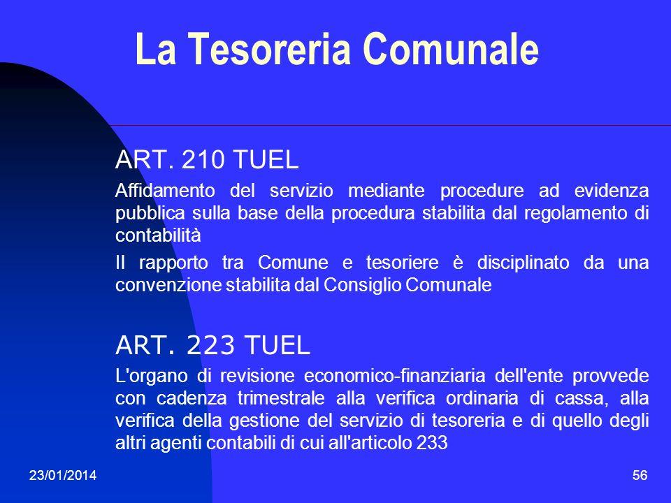 La Tesoreria Comunale ART. 210 TUEL ART. 223 TUEL