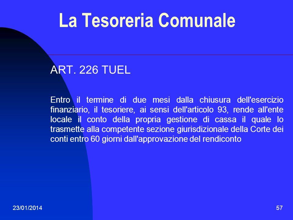 La Tesoreria Comunale ART. 226 TUEL