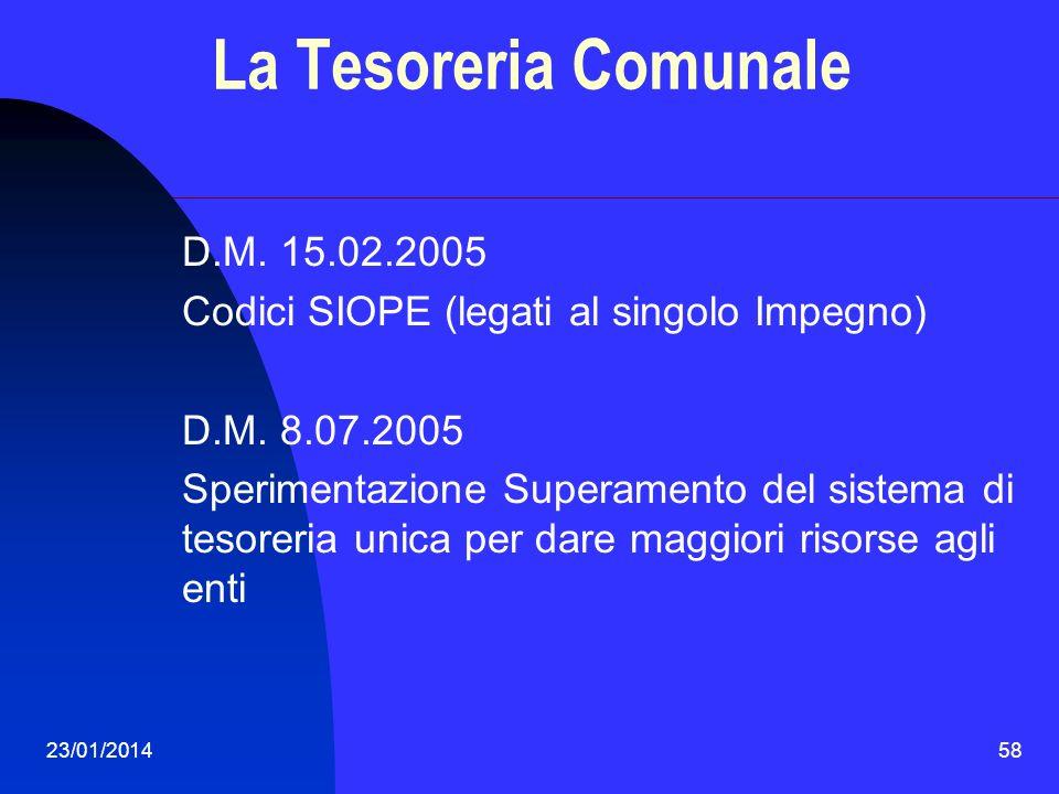 La Tesoreria Comunale D.M. 15.02.2005
