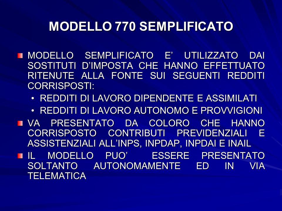 MODELLO 770 SEMPLIFICATO