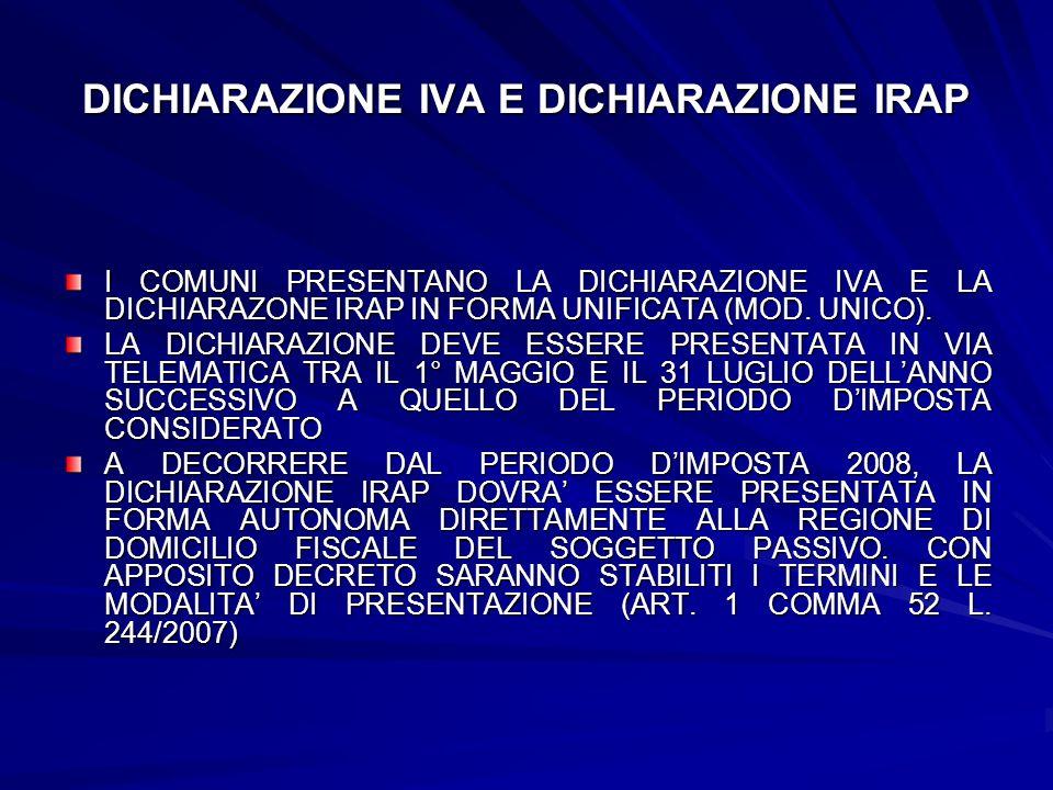 DICHIARAZIONE IVA E DICHIARAZIONE IRAP