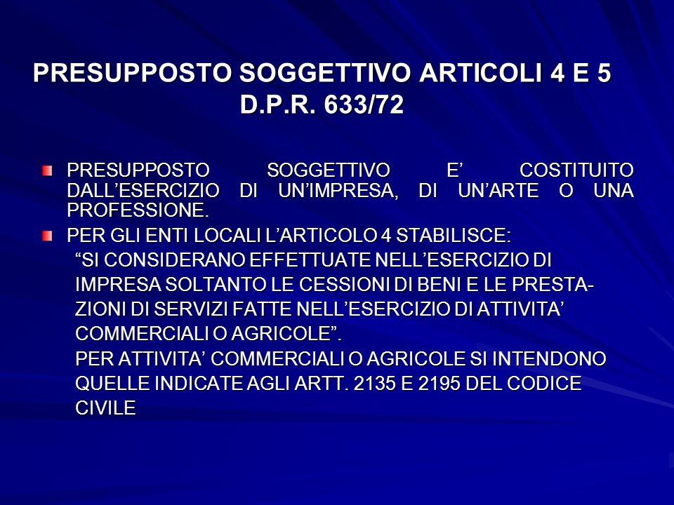 PRESUPPOSTO SOGGETTIVO ARTICOLI 4 E 5 D.P.R. 633/72