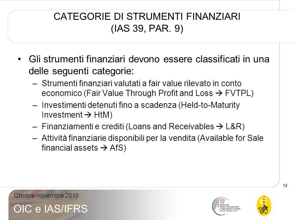 CATEGORIE DI STRUMENTI FINANZIARI (IAS 39, PAR. 9)