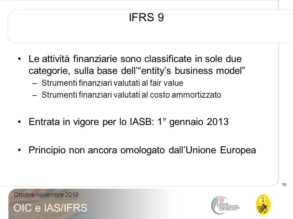 IFRS 9 Le attività finanziarie sono classificate in sole due categorie, sulla base dell' entity's business model