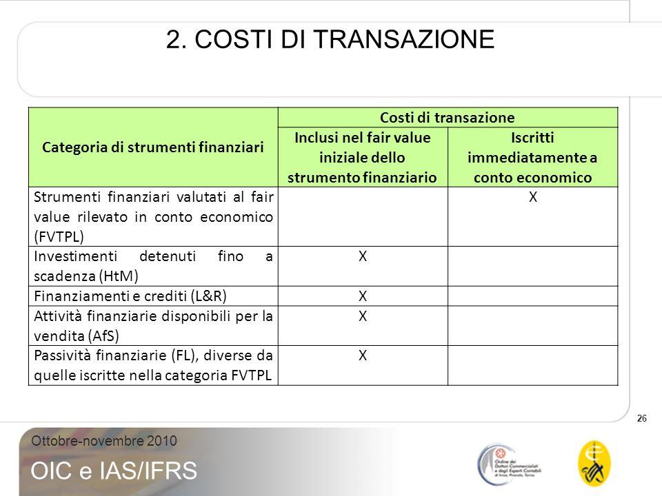 2. COSTI DI TRANSAZIONE Categoria di strumenti finanziari