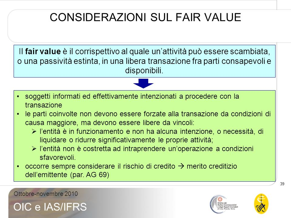CONSIDERAZIONI SUL FAIR VALUE