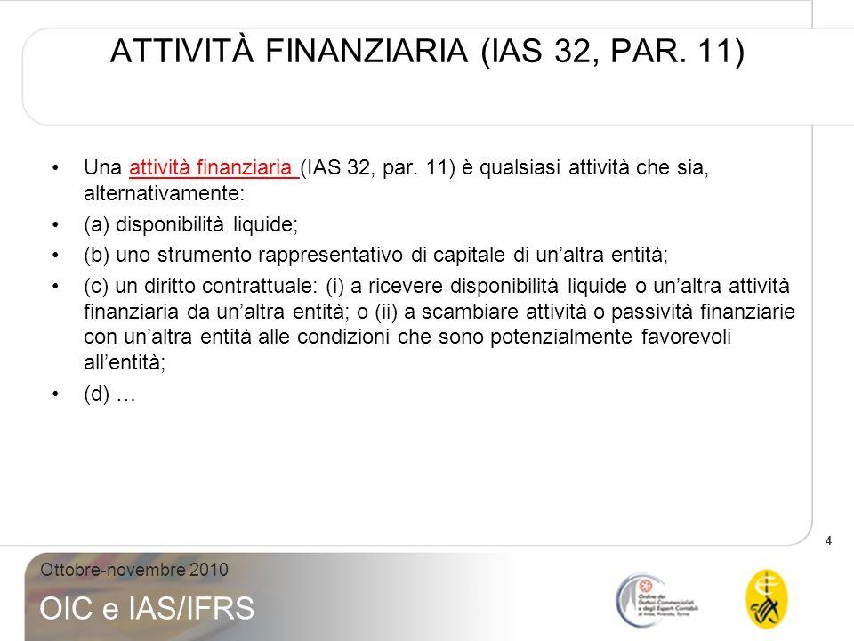 ATTIVITÀ FINANZIARIA (IAS 32, PAR. 11)