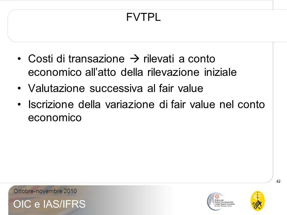 FVTPL Costi di transazione  rilevati a conto economico all'atto della rilevazione iniziale. Valutazione successiva al fair value.