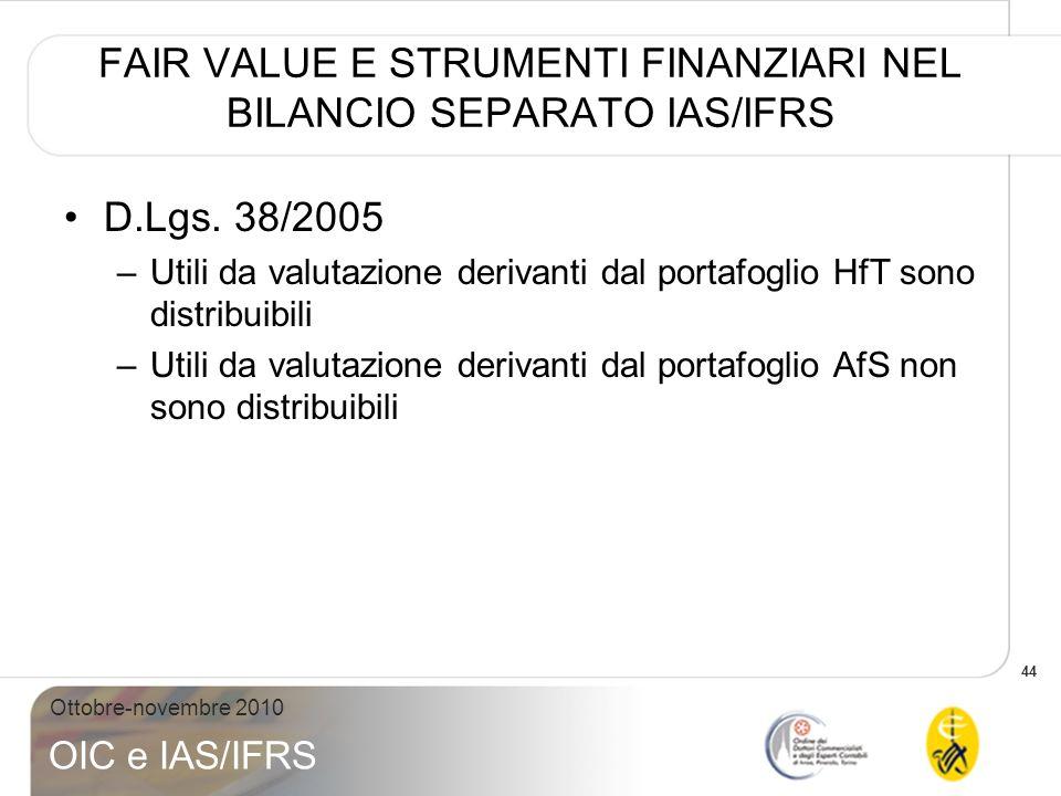 FAIR VALUE E STRUMENTI FINANZIARI NEL BILANCIO SEPARATO IAS/IFRS