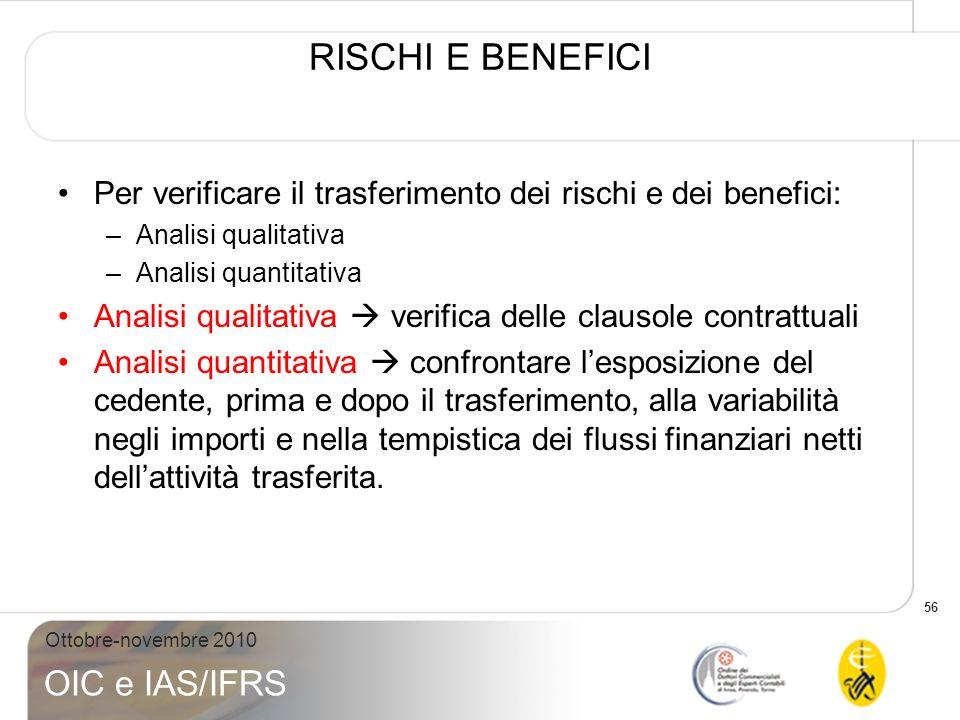 RISCHI E BENEFICI Per verificare il trasferimento dei rischi e dei benefici: Analisi qualitativa. Analisi quantitativa.