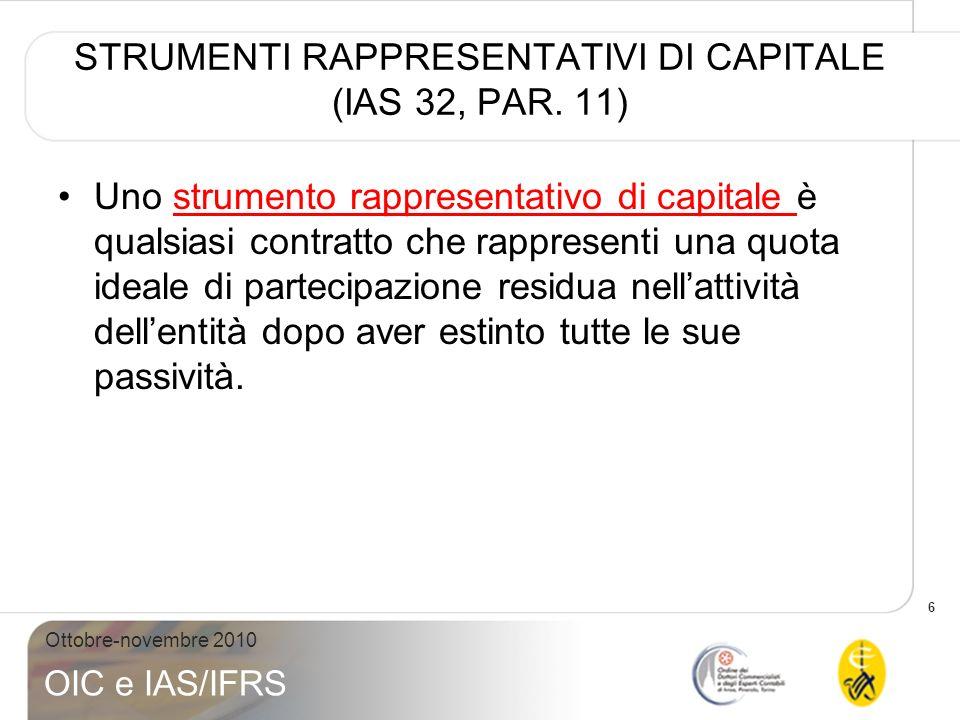 STRUMENTI RAPPRESENTATIVI DI CAPITALE (IAS 32, PAR. 11)