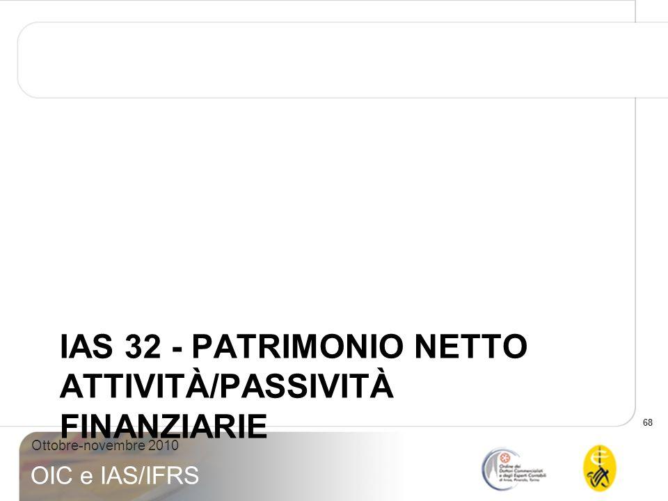 IAS 32 - PATRIMONIO NETTO ATTIVITÀ/PASSIVITÀ FINANZIARIE