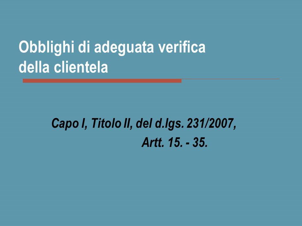 Obblighi di adeguata verifica della clientela