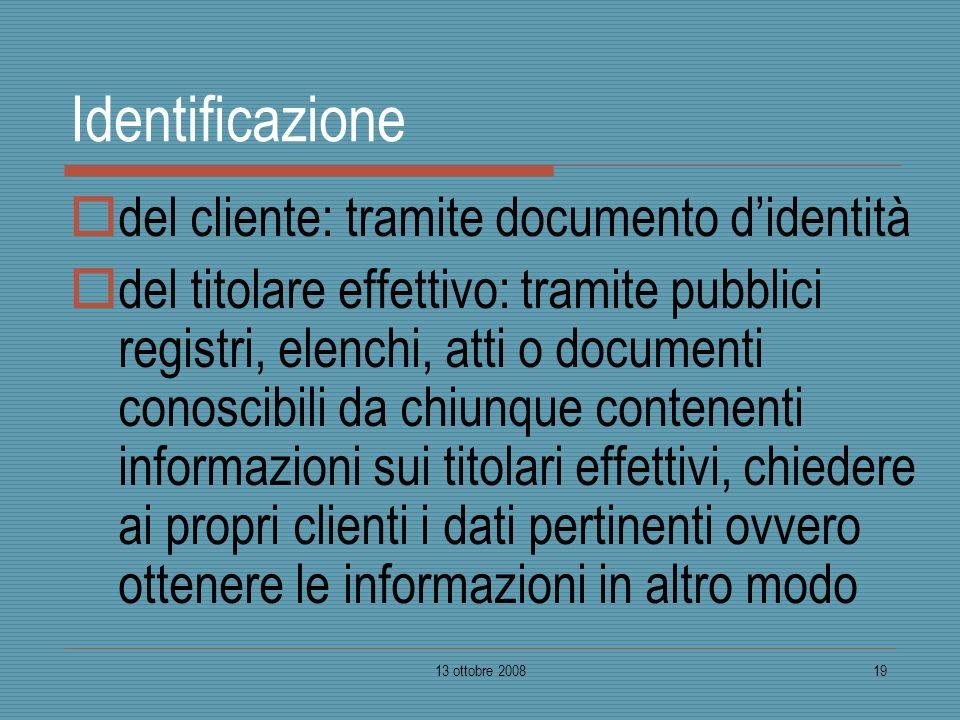 Identificazione del cliente: tramite documento d'identità