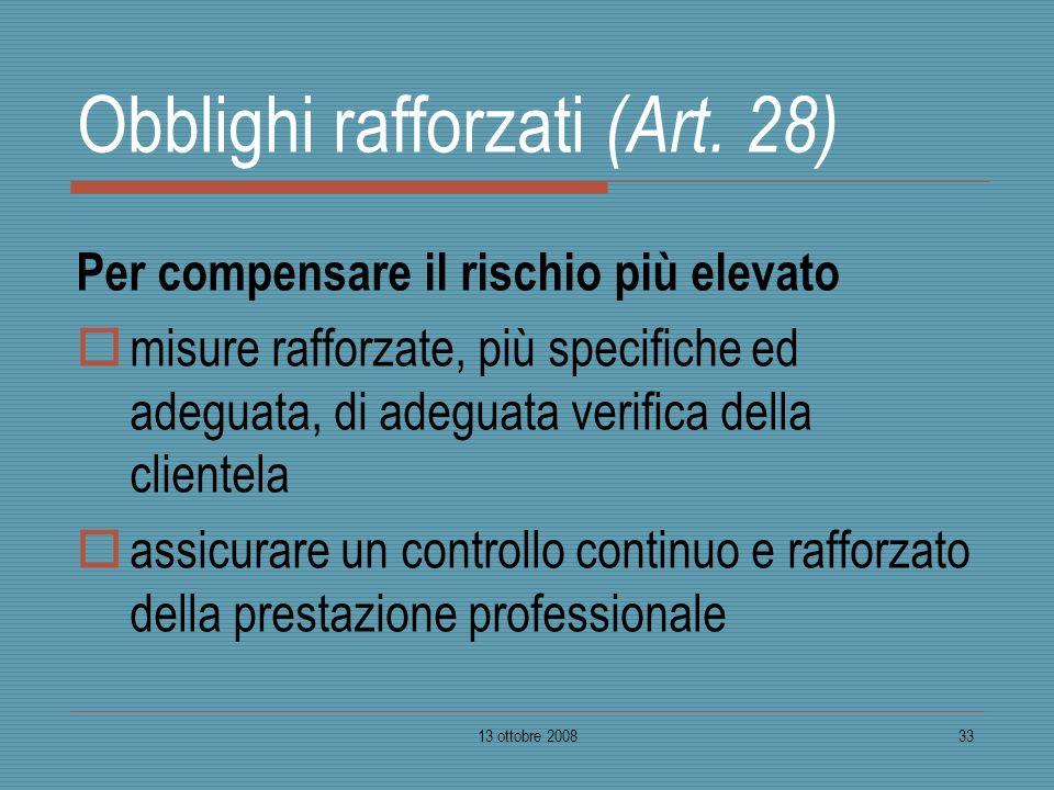 Obblighi rafforzati (Art. 28)
