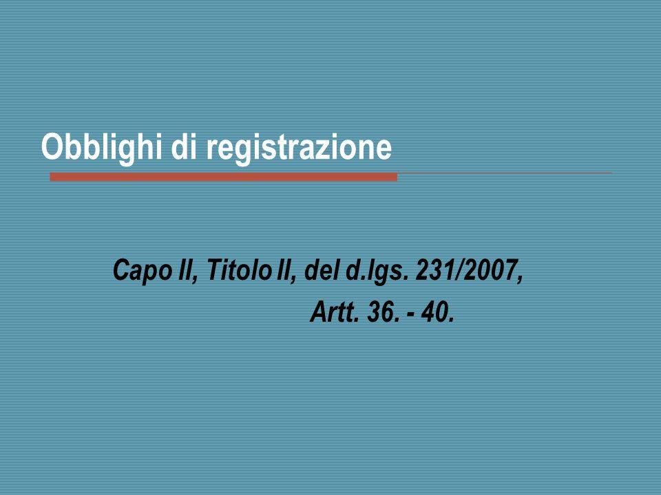 Obblighi di registrazione