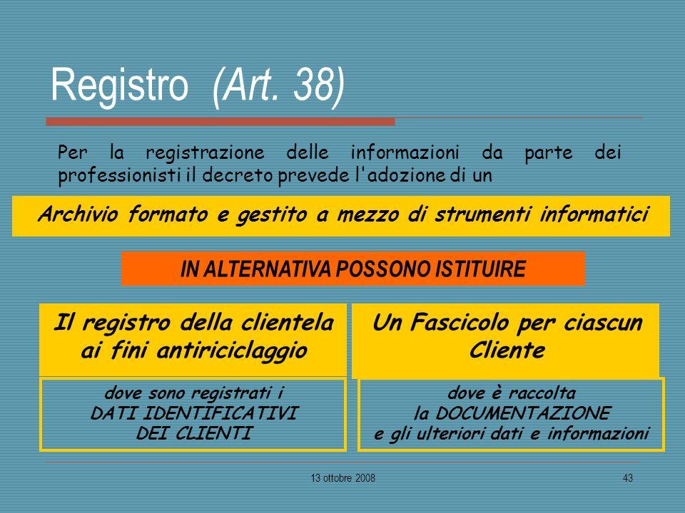 Registro (Art. 38) IN ALTERNATIVA POSSONO ISTITUIRE