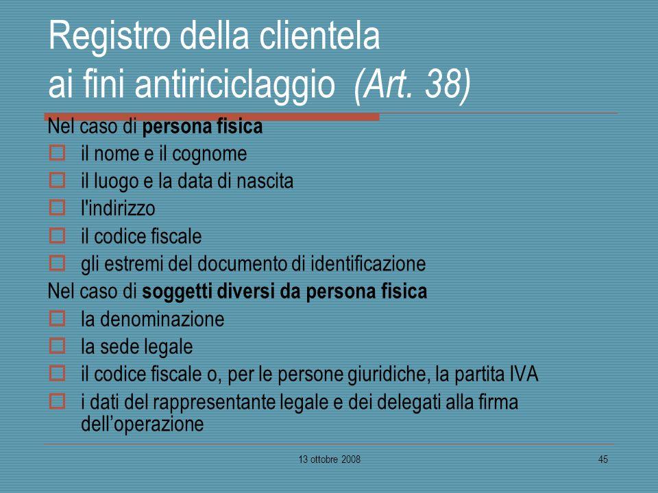 Registro della clientela ai fini antiriciclaggio (Art. 38)