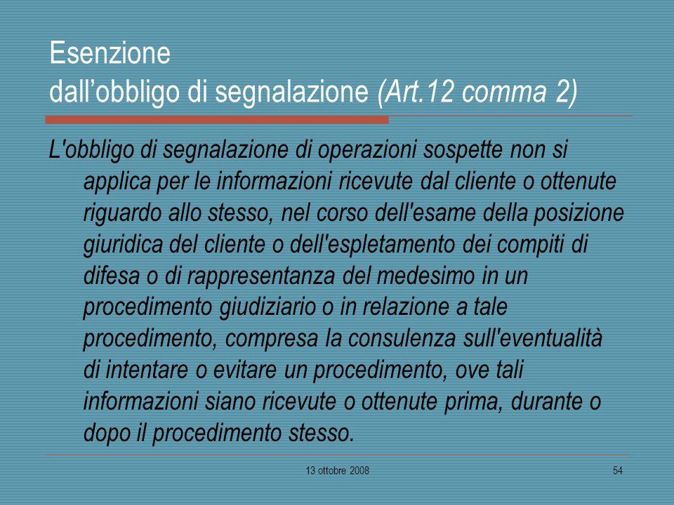 Esenzione dall'obbligo di segnalazione (Art.12 comma 2)