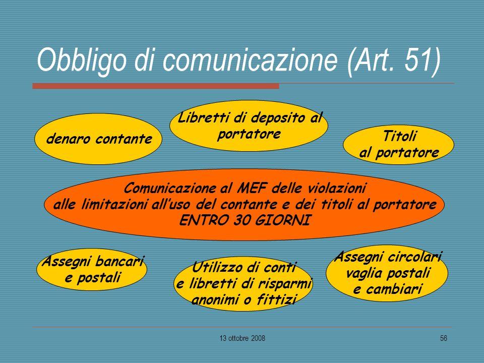 Obbligo di comunicazione (Art. 51)
