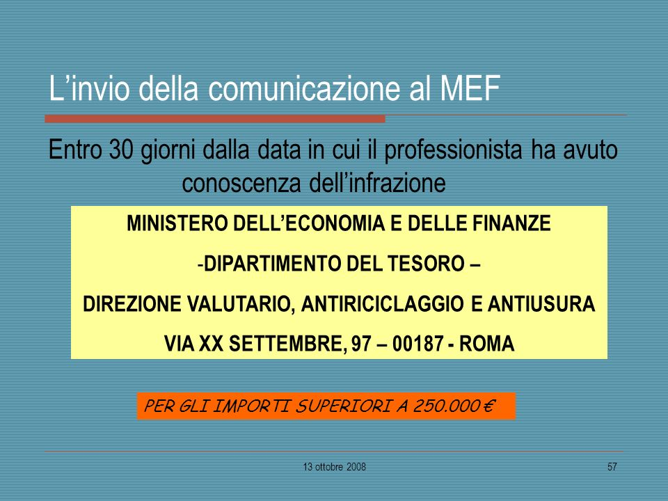 L'invio della comunicazione al MEF
