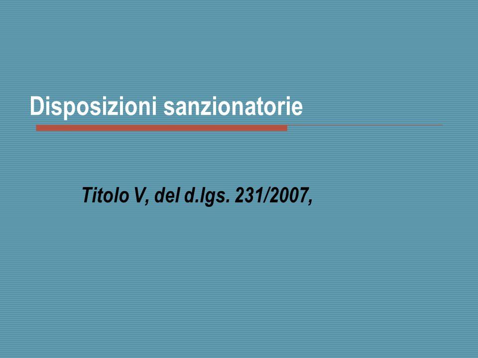 Disposizioni sanzionatorie