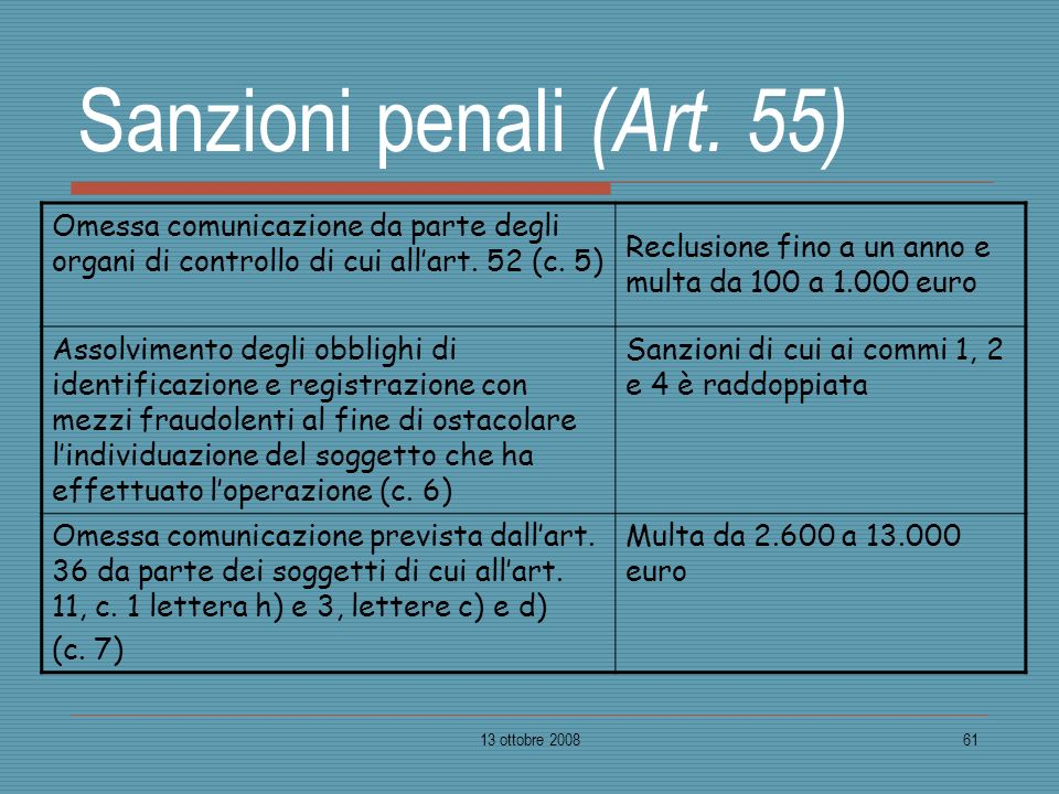 Sanzioni penali (Art. 55) Omessa comunicazione da parte degli organi di controllo di cui all'art. 52 (c. 5)