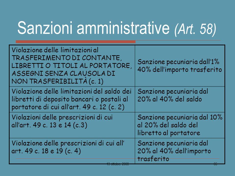Sanzioni amministrative (Art. 58)