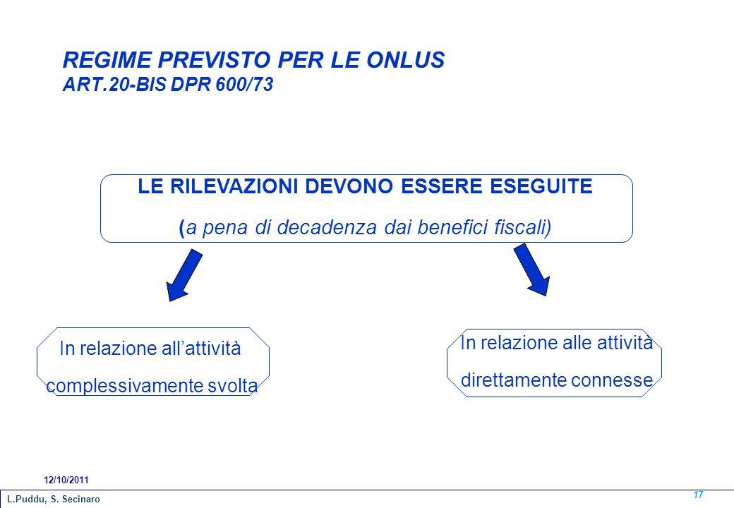 REGIME PREVISTO PER LE ONLUS ART.20-BIS DPR 600/73