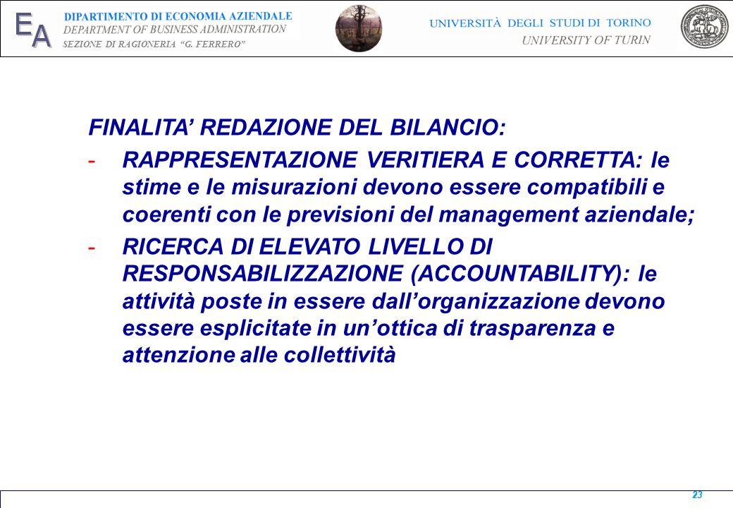 FINALITA' REDAZIONE DEL BILANCIO: