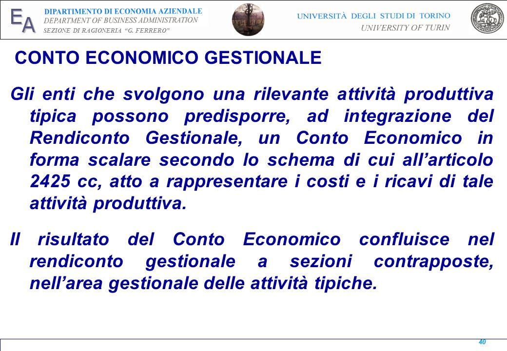 CONTO ECONOMICO GESTIONALE