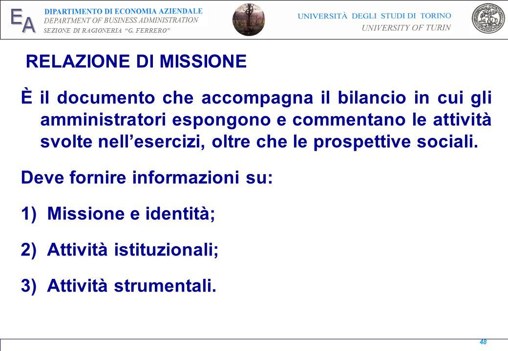 Deve fornire informazioni su: Missione e identità;