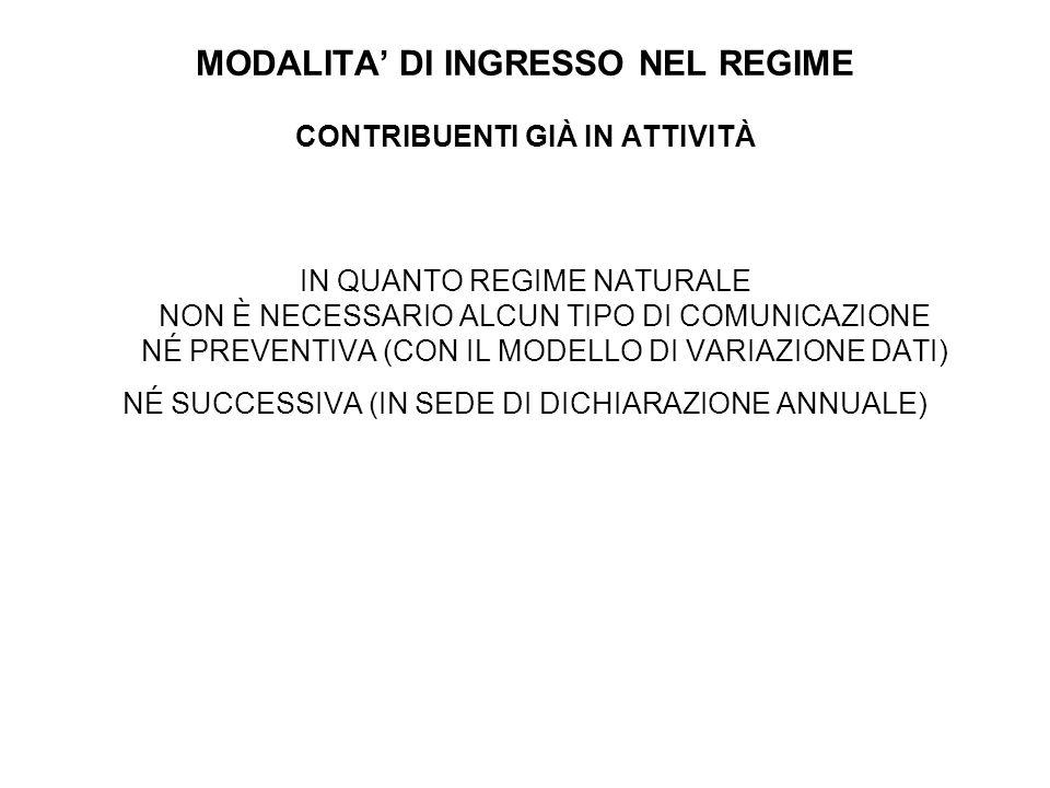 MODALITA' DI INGRESSO NEL REGIME CONTRIBUENTI GIÀ IN ATTIVITÀ