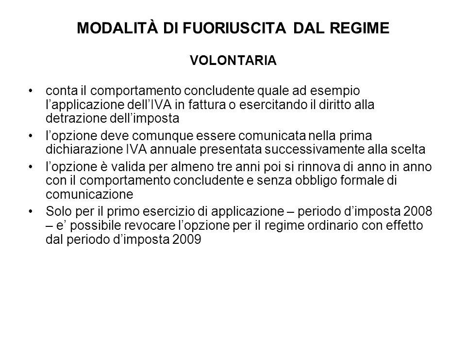 MODALITÀ DI FUORIUSCITA DAL REGIME VOLONTARIA