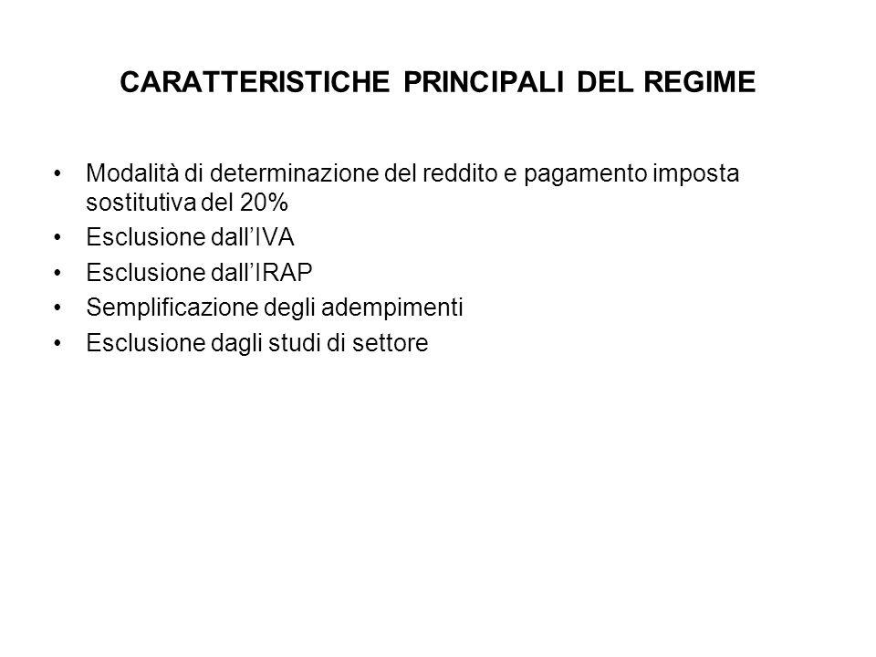 CARATTERISTICHE PRINCIPALI DEL REGIME