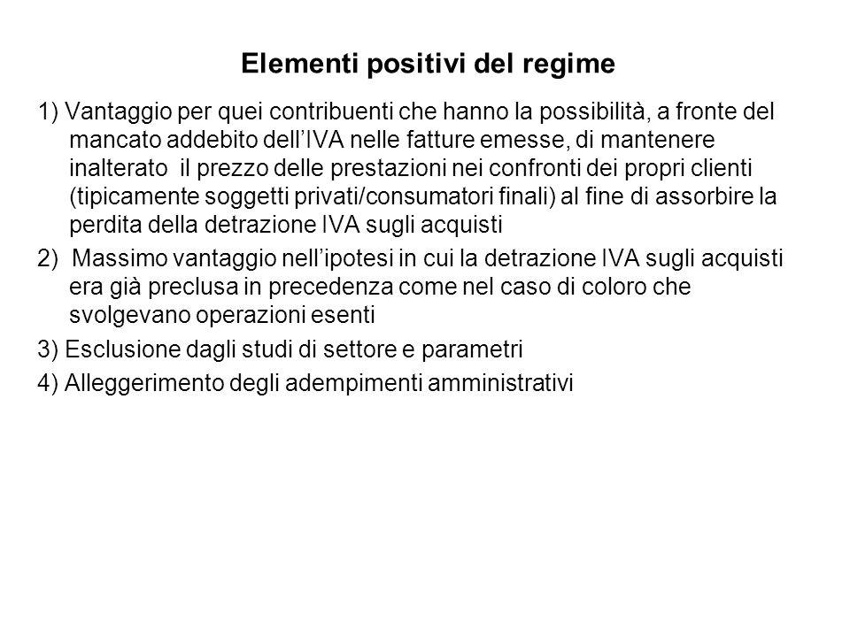 Elementi positivi del regime