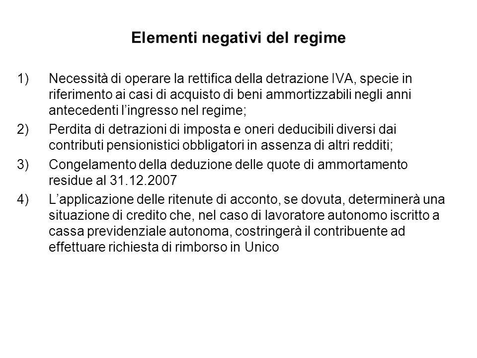Elementi negativi del regime